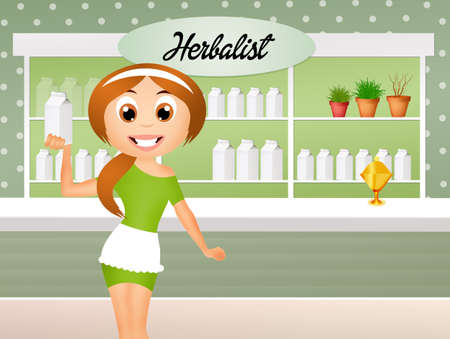 herbalist: herbalist cartoon  Stock Photo