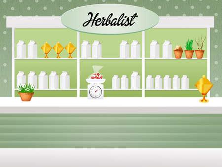 herbolaria: ilustración de herbolario