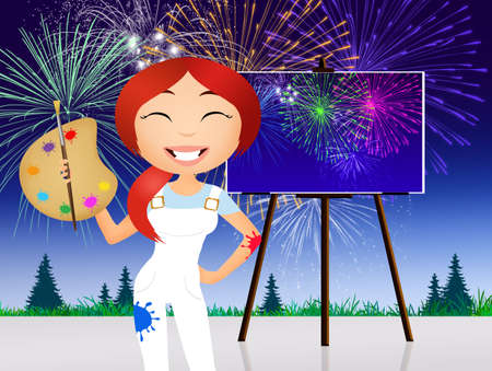 happy woman: woman paints fireworks
