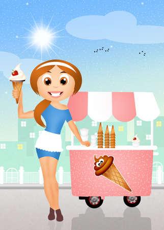 ice cream cart: ice cream cart