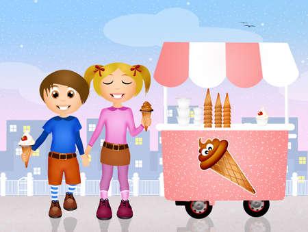 ice cream cart: boy and girl with an ice cream cart Stock Photo