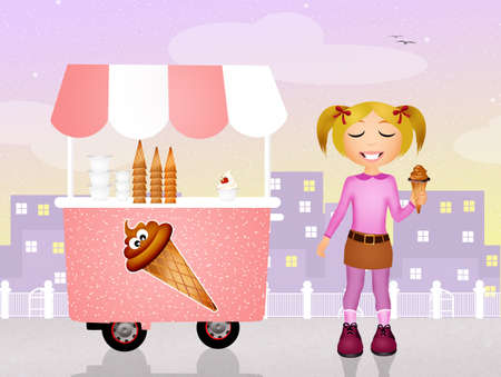ice cream cart: girl with an ice cream cart Stock Photo