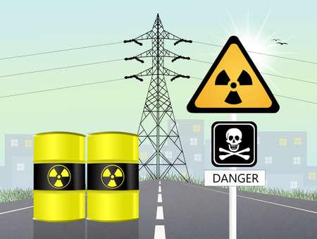 barrel radioactive waste: high voltage pylon Stock Photo