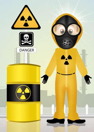 radiacion: riesgo peligro de radiaci�n Foto de archivo