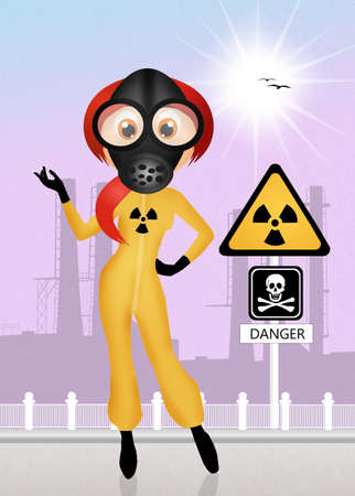 gas mask danger sign: girl with gas mask