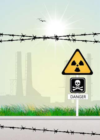 gas mask danger sign: radiation risk