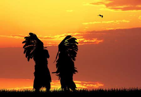 Indian at sunset photo