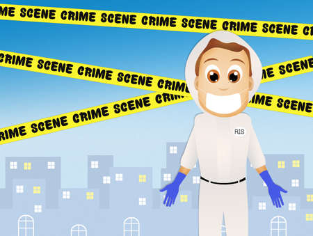 stalking: forensic cartoon concept
