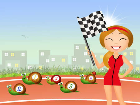 running race: running race concept with snails