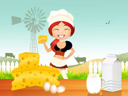 dairy products: girl sells dairy products
