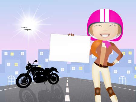 motorcyclist: illustration of girl motorcyclist