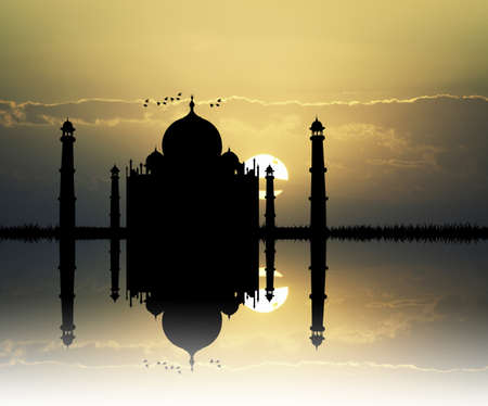 mahal: Taj mahal silhouette Stock Photo