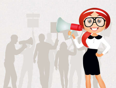 demonstration: woman with megaphone in demonstration Stock Photo