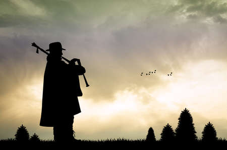 pipers: piper silhouette at sunset