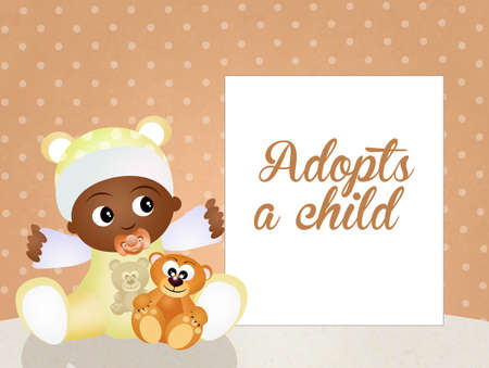 adoptive: adopts a child Stock Photo