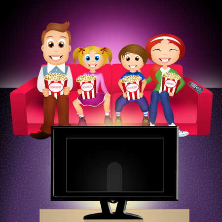 watching: Family watching tv together Stock Photo