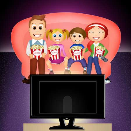 viendo television: Familia viendo la televisi�n