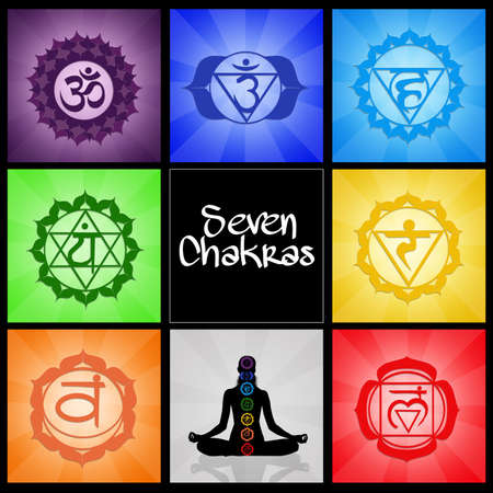 spirituality therapy: Seven Chakras collage Stock Photo