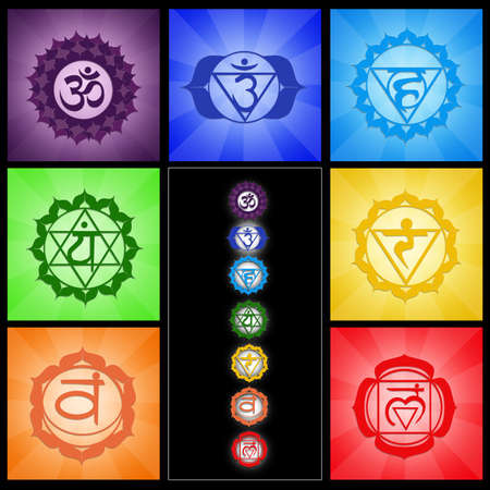 chakras: Seven Chakras collage Stock Photo