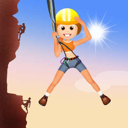 mountain climber: girl climber on mountain Stock Photo