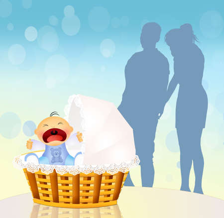 cries: baby cries in the cradle Stock Photo