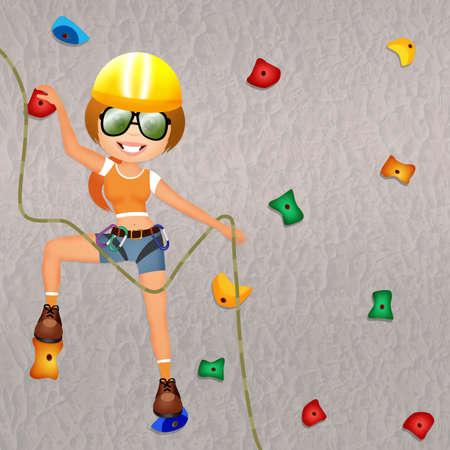 adrenalin: climbing on the wall Stock Photo