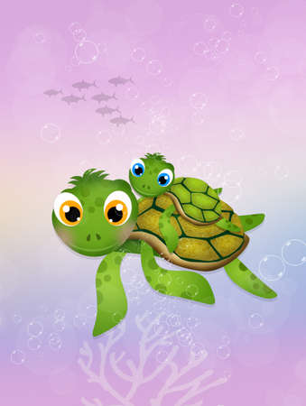 sea turtle: little sea turtle in the ocean Stock Photo