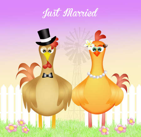 spouses: rooster and hen spouses Stock Photo