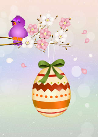 peach tree: Easter egg on peach tree