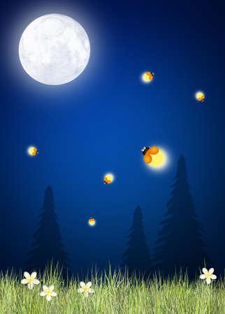 fireflies in the moonlight photo