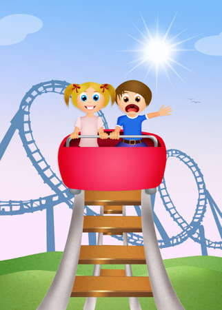 roller coaster: children on roller coaster