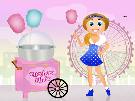 cotton candy: girl sells cotton candy