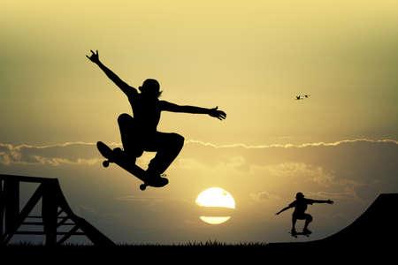 skateboard park: skateboard at sunset