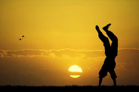 happyness: happy boy at sunset