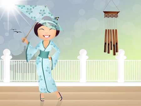 geisha: illustration of Geisha with umbrella