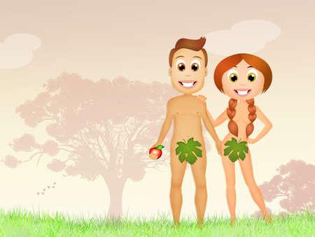 adam eve: Adam and Eve in the Garden of Eden Stock Photo