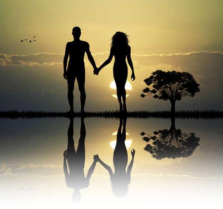 Adam und Eva in Eden Standard-Bild - 37744223