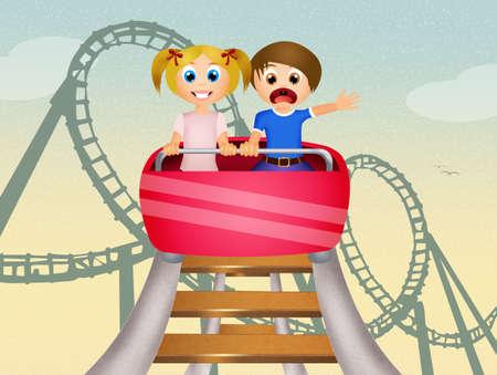 children on roller coaster