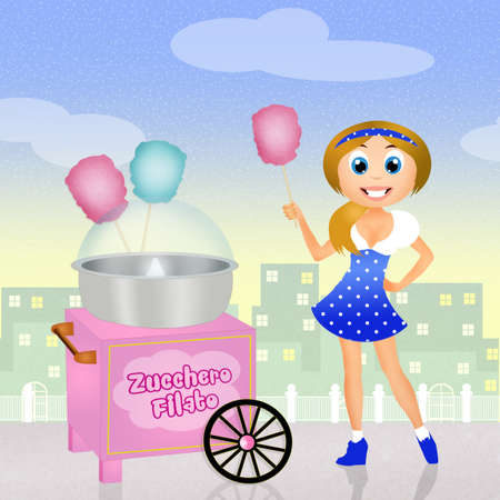 girl sells cotton candy