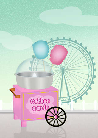 cotton candy: cotton candy cart in the amusement park Stock Photo