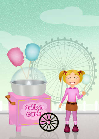 algodon de azucar: algod�n de az�car en el parque de atracciones Foto de archivo
