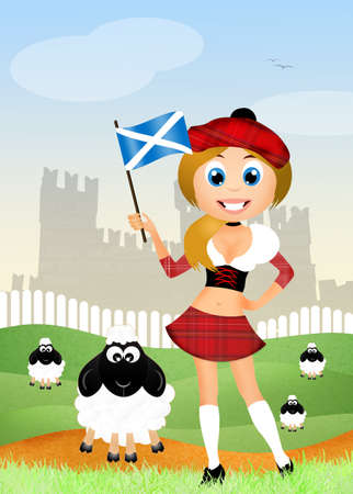 pipers: Scottish girl Stock Photo