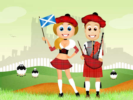 pipers: Scottish couple