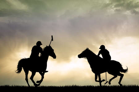 polo players on horses Banque d'images