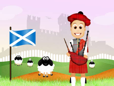 pipers: Scottish man Stock Photo