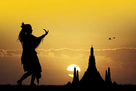indonesian: Indonesian dance at sunset