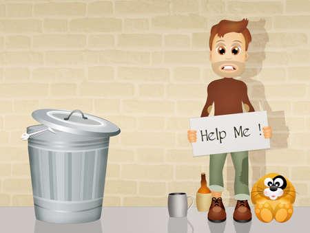 man begging: homeless