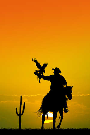 man on horse with hawk