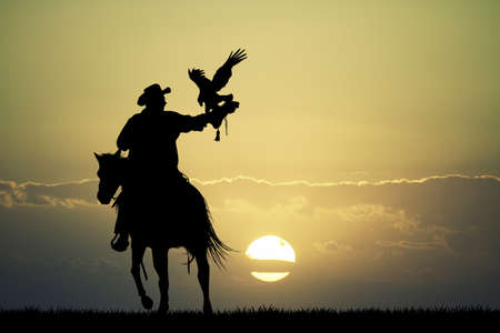 rapacious: man on horse with hawk