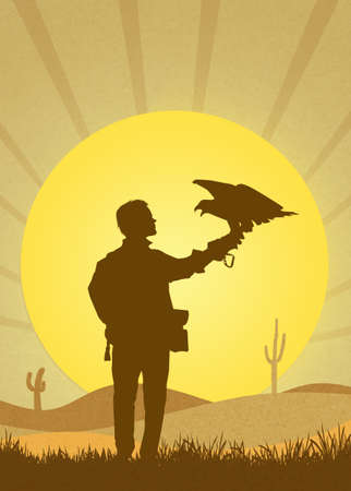 falconry: falconry in the desert